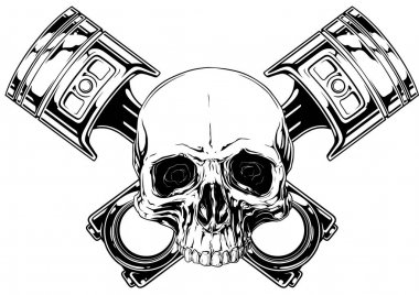 Graphic human skull with crossed car piston vector
