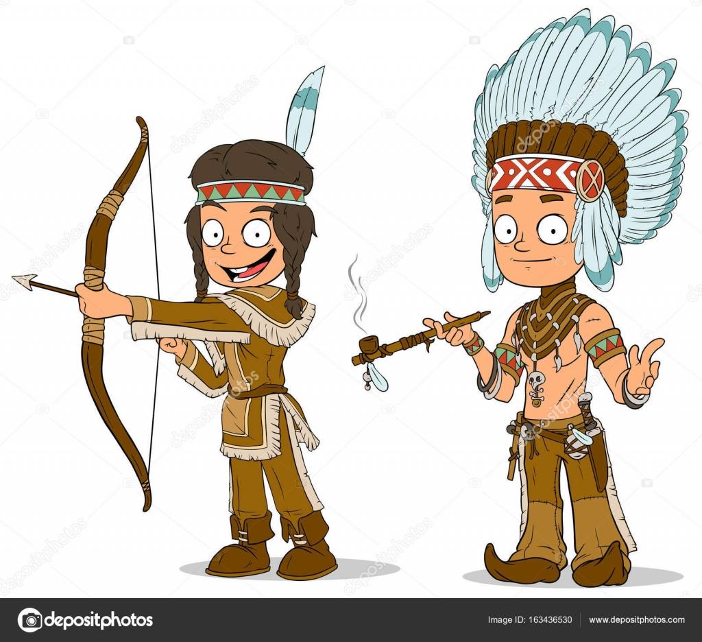 Sada Kresleny Znaky Indiansky Nacelnik Mladych Bojovnik Stock