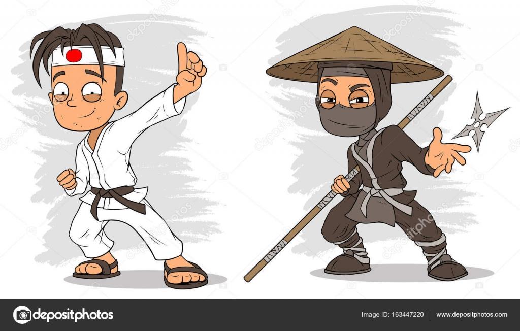 Dibujos animados karate boy ninja personajes vector conjunto y ...