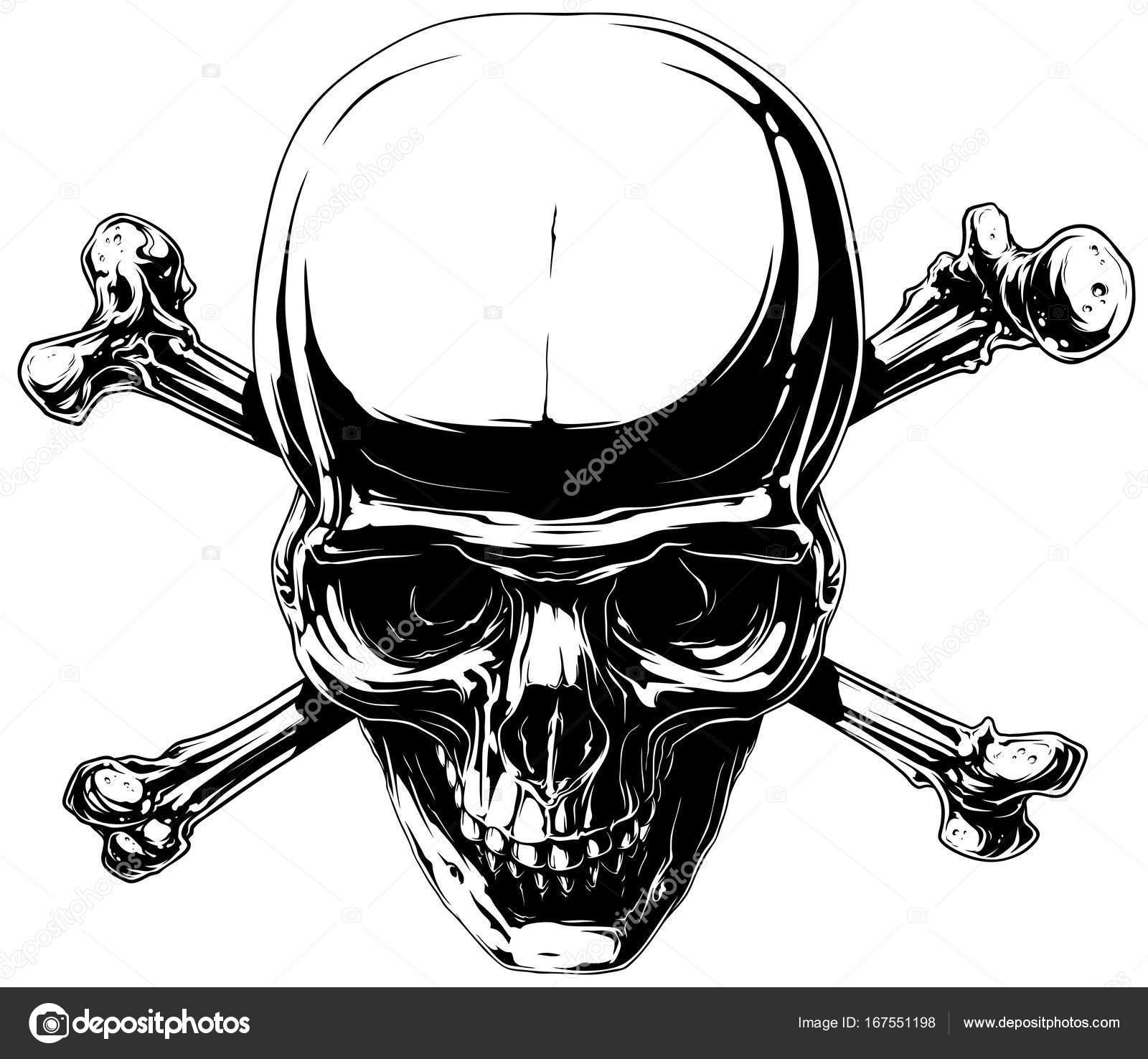 Cráneo humano horror gráfico con huesos cruzados — Archivo Imágenes ...