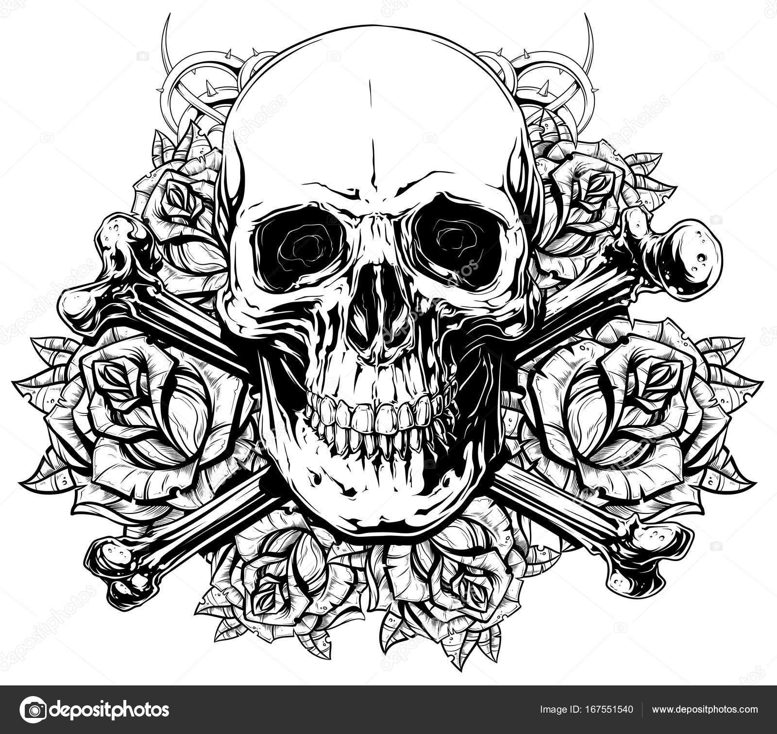 Gráfico humano cráneo con huesos cruzados y rosas — Archivo Imágenes ...