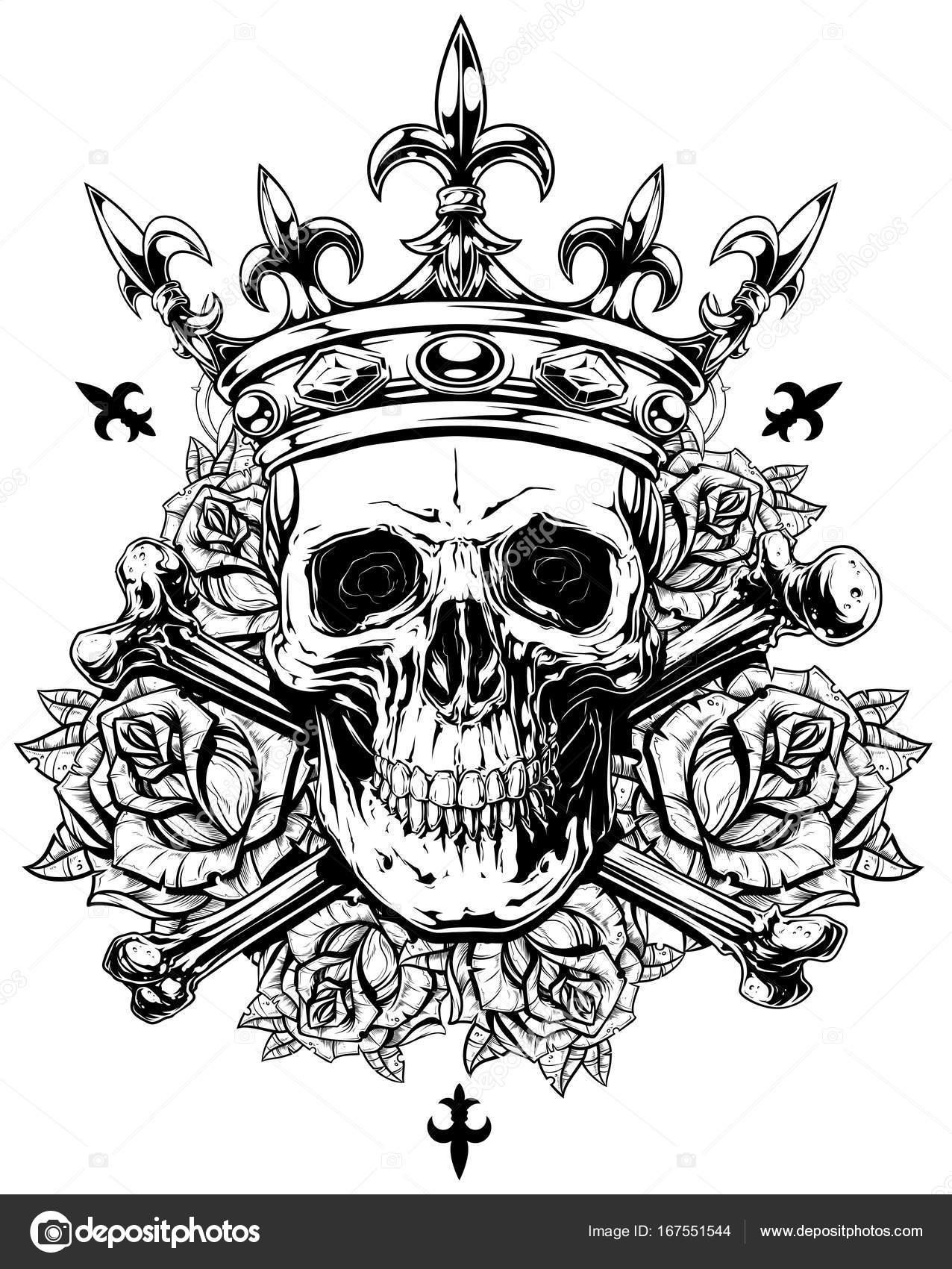 Gráfico humano cráneo con huesos cruzados y corona — Archivo ...