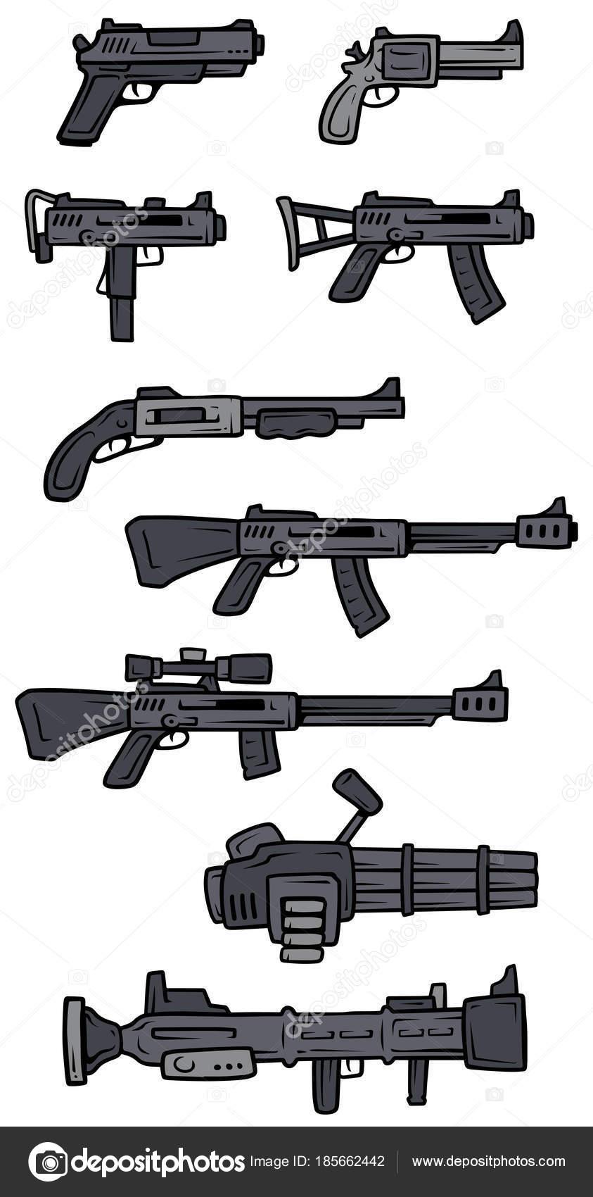 armas de blanco y negro de dibujos animados vector iconos archivo