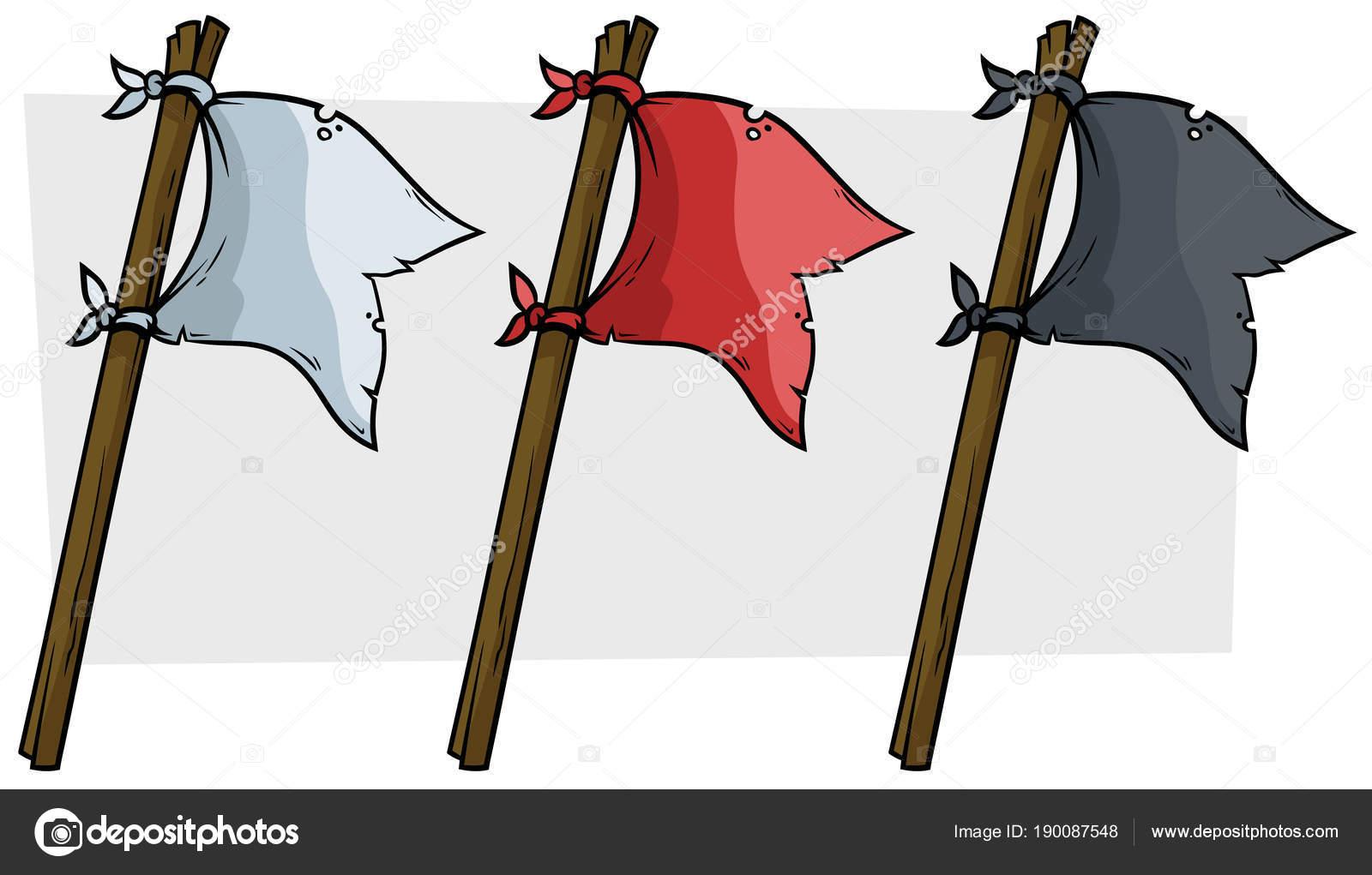Dibujos animados de banderas pirata color en palo de madera ...