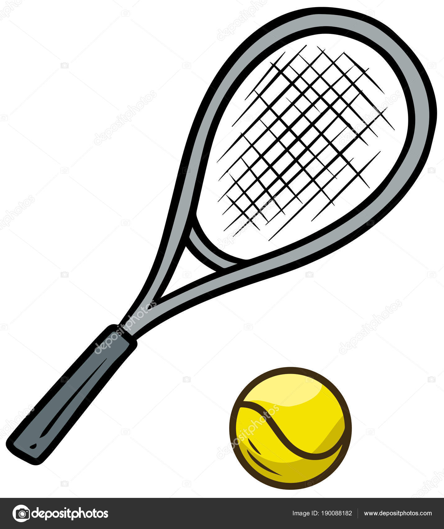 Cartoon tennisschl ger und gelben ball stockvektor gb - Raquette dessin ...