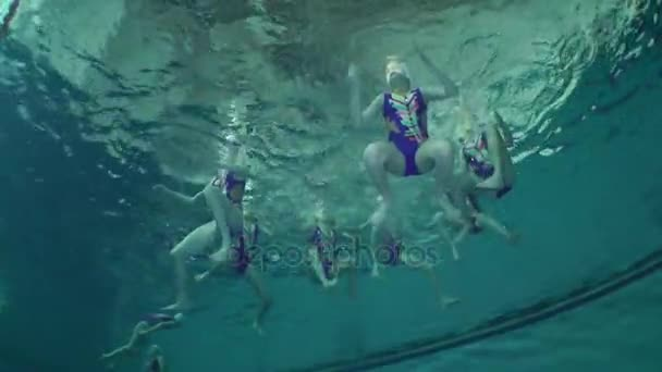 Underwater view of Synchronized Swimming.