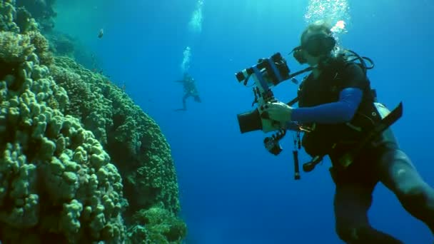Underwater photographer on a coral reef.
