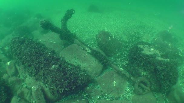 Turkish iron anchor 17-18 century on the seabed.