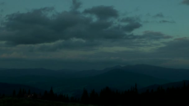 Mountain landscape at night.
