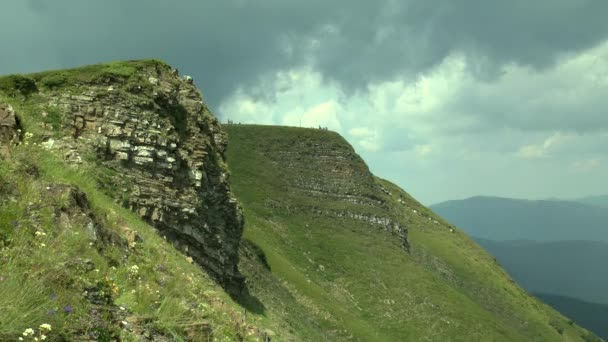 Mountain slope with picturesque rocky ledges.