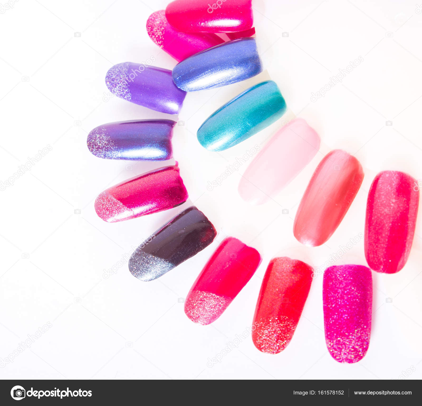 Color palette of nail polish closeup isolated — Stock Photo ...