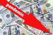 Pandémia. A gazdaság pénzügyi hanyatlása. Vörös nyíl a dollár bankjegyek hátterében. Üzlet. Pénzügy. Járvány. Karantén.