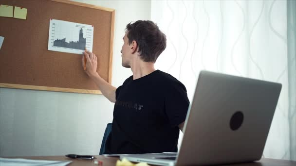 Freelancer using laptop computer working with analyze graphs in the home office