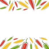 Vector background with jalapenos on a white background. Space for text. Vector illustration
