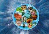 Koláž na téma cestování a cestovního ruchu