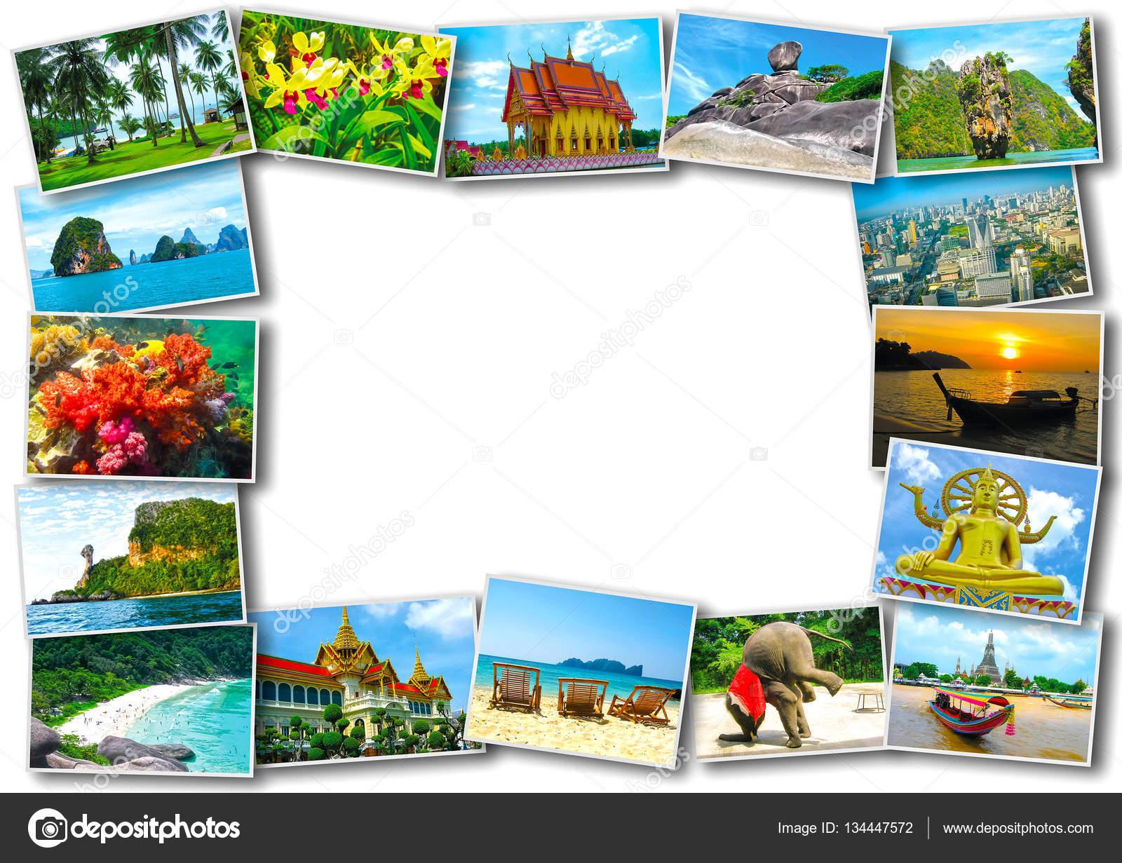 Viaje Tailandia Turismo concepto de diseño - collage de imágenes de ...