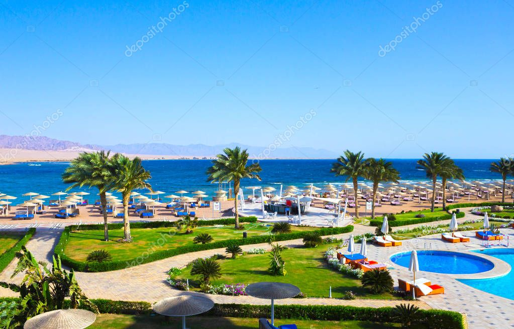 Sharm El Sheikh, Egypt - April 8, 2017: The view of luxury hotel Barcelo Tiran Sharm 5 stars at day with blue sky