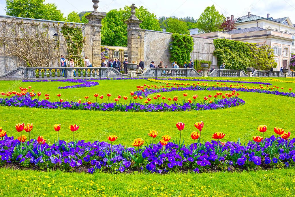 Salzburg, Austria - May 01, 2017: A part of the beautiful Mirabell gardens in Salzburg