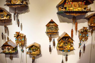 The lot of swiss wooden clocks