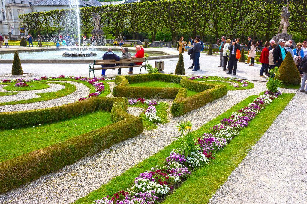 Salzburg, Austria - May 01, 2017: A part of the beautiful Mirabell gardens in Salzburg