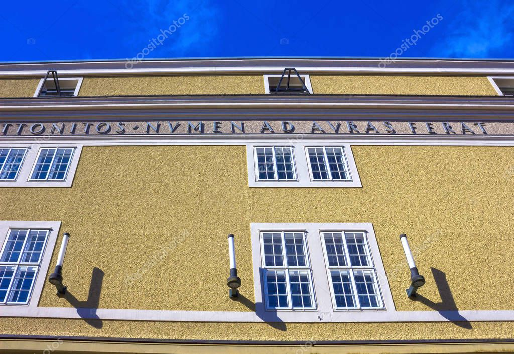 Salzburg, Austria - May 01, 2017: The old University facade in Austria