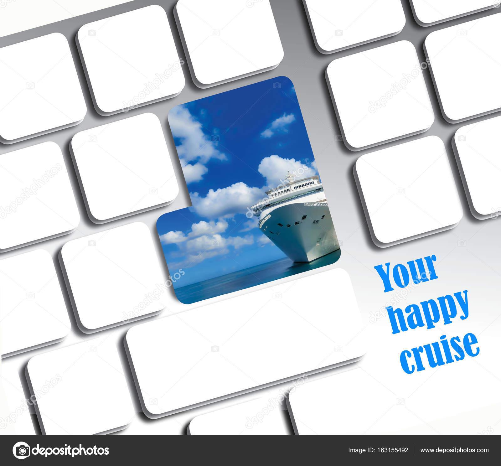 Computer-Tastatur mit Kreuzfahrt Schiff Rahmen. Online-Konzept für ...