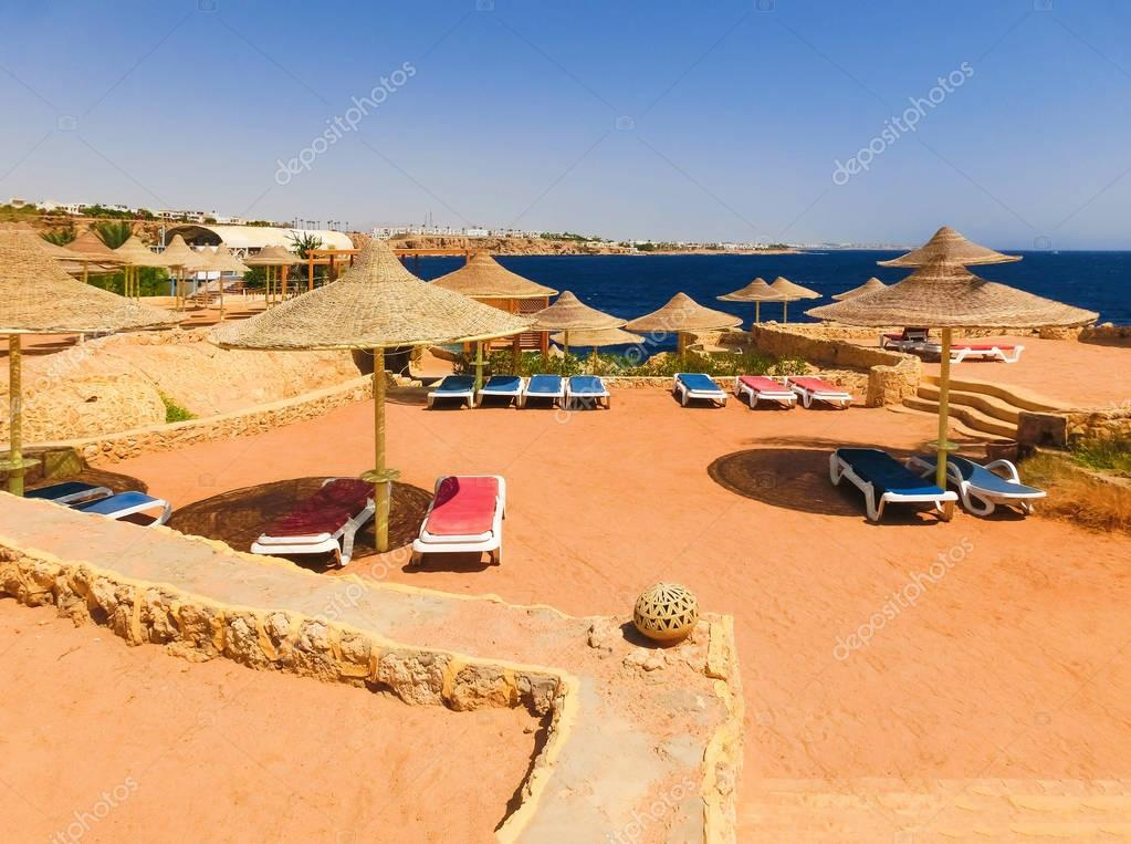 Sharm El Sheikh, Egypt - September 22, 2017: The view of luxury hotel Dreams Beach Resort Sharm 5 stars at day with blue sky