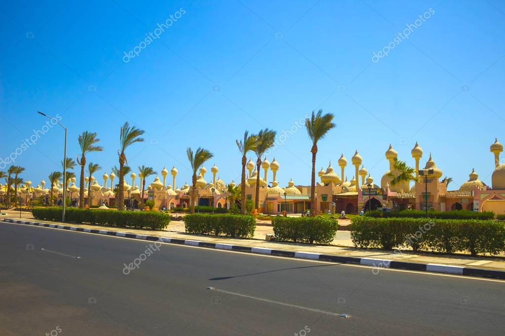 Sharm El Sheikh, Egypt - September 23, 2017: One of the shopping streets, the beautiful architectural features of the Egyptian buildings.