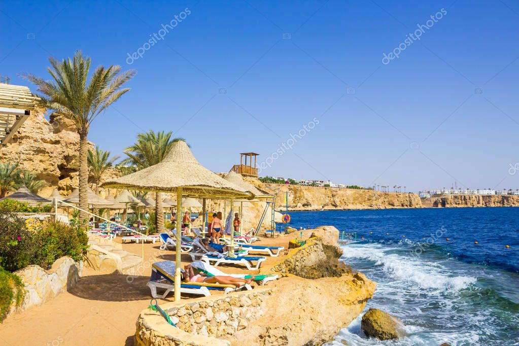 Sharm El Sheikh, Egypt - September 25, 2017: The view of luxury hotel Dreams Beach Resort Sharm 5 stars at day with blue sky
