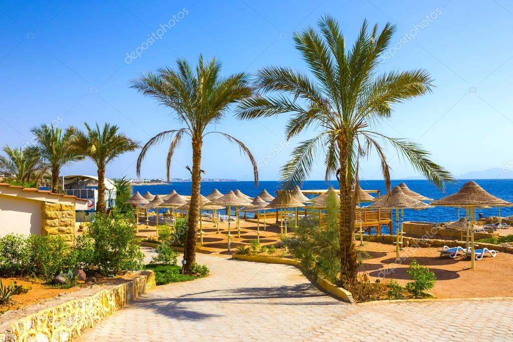 Sharm El Sheikh, Egypt - September 24, 2017: The view of luxury hotel Dreams Beach Resort Sharm 5 stars at day with blue sky