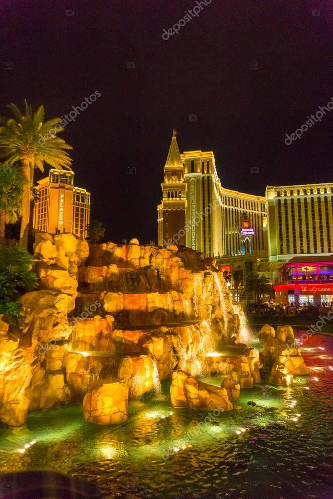 Las Vegas, United States of America - May 07, 2016: Treasure Island and reflecting pool, Las Vegas