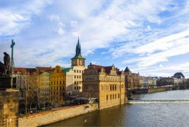 Vltava river embankment and Smetana Museum, view from the Charles Bridge