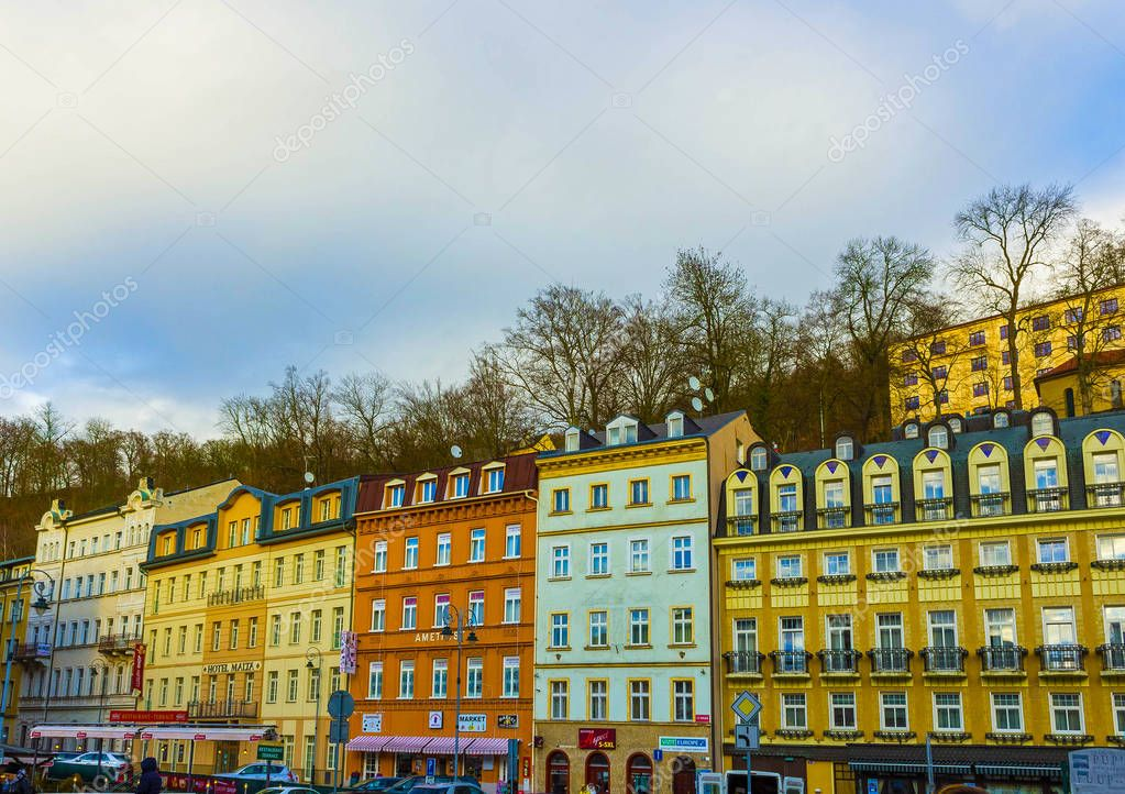 Karlovy Vary, Cszech Republic - January 01, 2018: The facades of old houses in the center