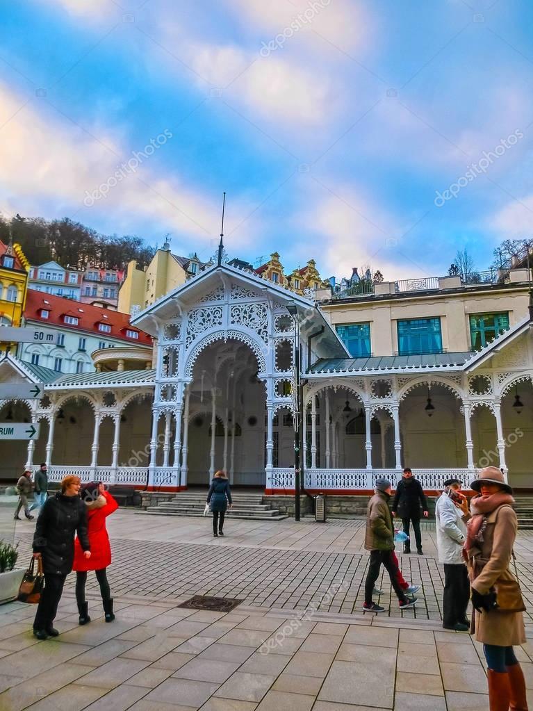 Karlovy Vary, Cszech Republic - January 01, 2018: Hot springs colonnade in Karlovy Vary
