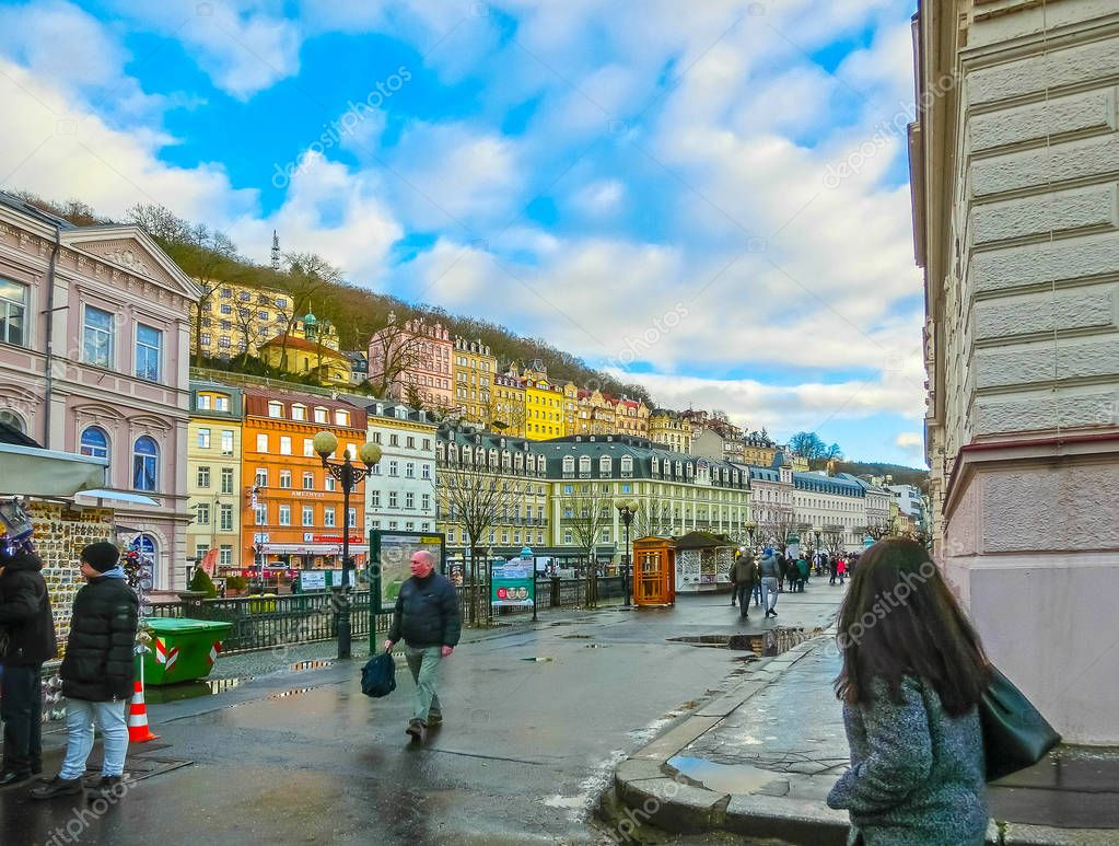 Karlovy Vary, Cszech Republic - January 01, 2018: The embankment of Tepla river in the center