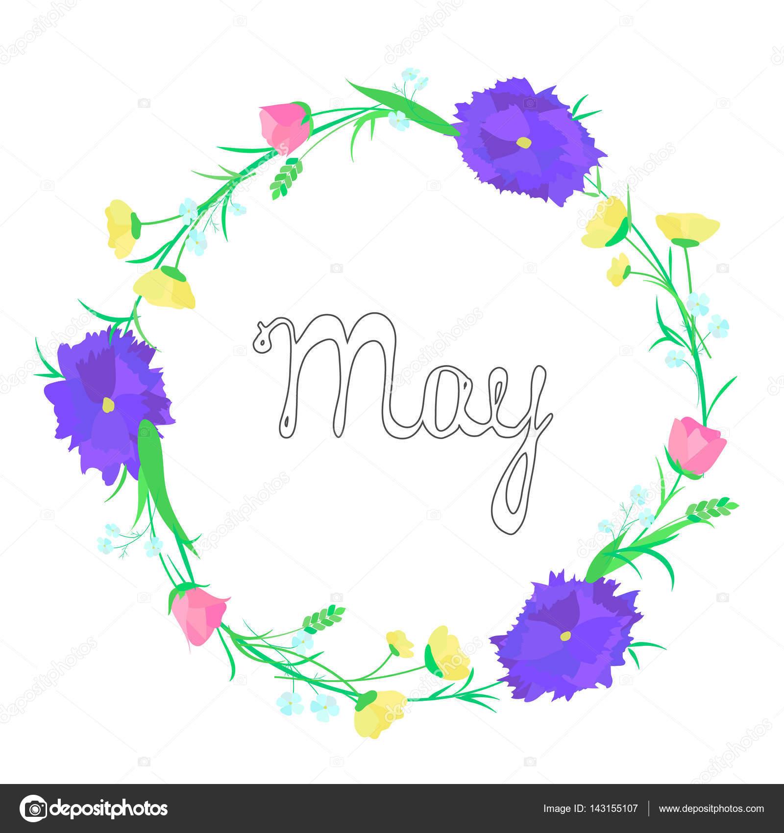 Bezaubernd Blumen Mai Sammlung Von Kranz Aus Inschrift — Stockvektor