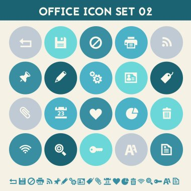 Office icon set. Multicolored flat buttons