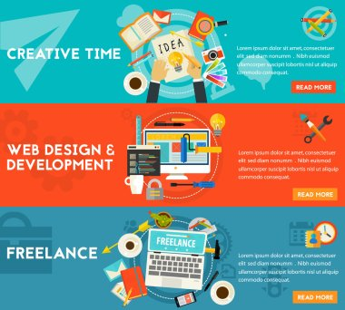 Creative Time, Freelance And Web Design Development Concept Illustrations