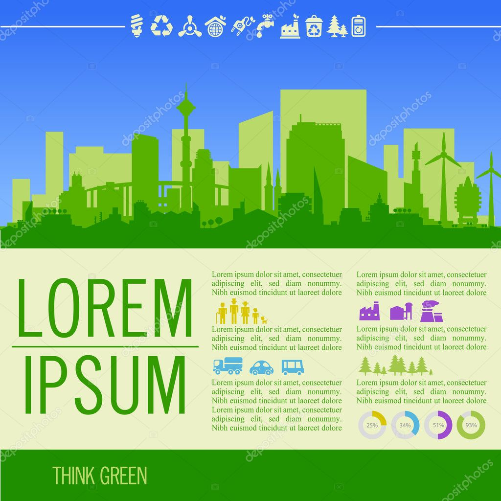 Green illustration with downtown