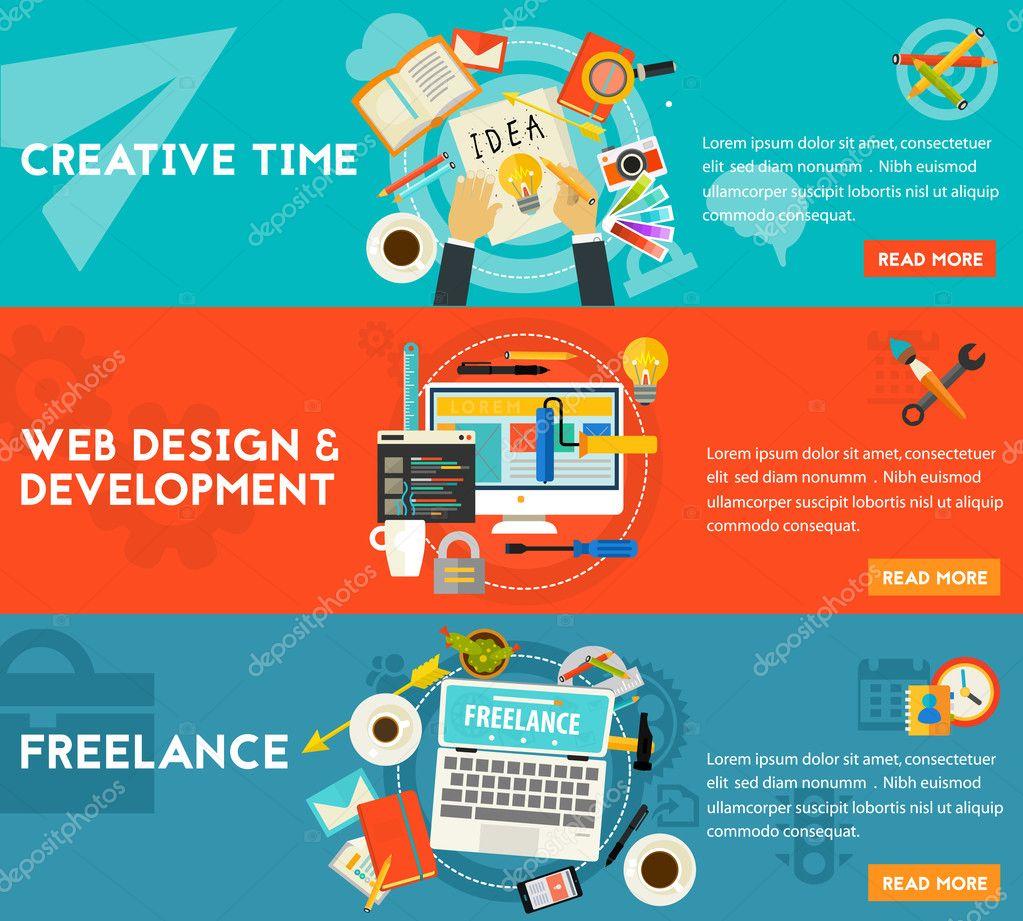 Creative Time, Freelance And Web Design Development Concept Illustrations