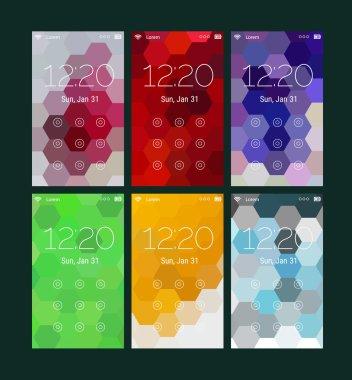 Abstract geometric UI screens