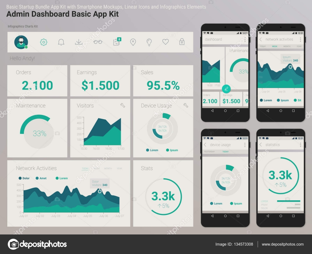 Flat Design Admin Dashboard UI Mobile App Stock Vector