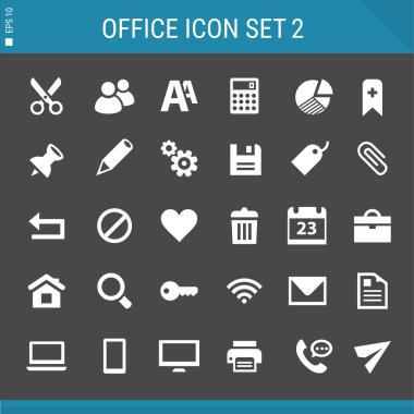 Office icon set.  flat buttons