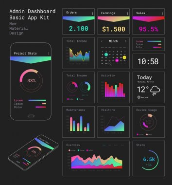 Flat design responsive Admin Dashboard UI mobile apps