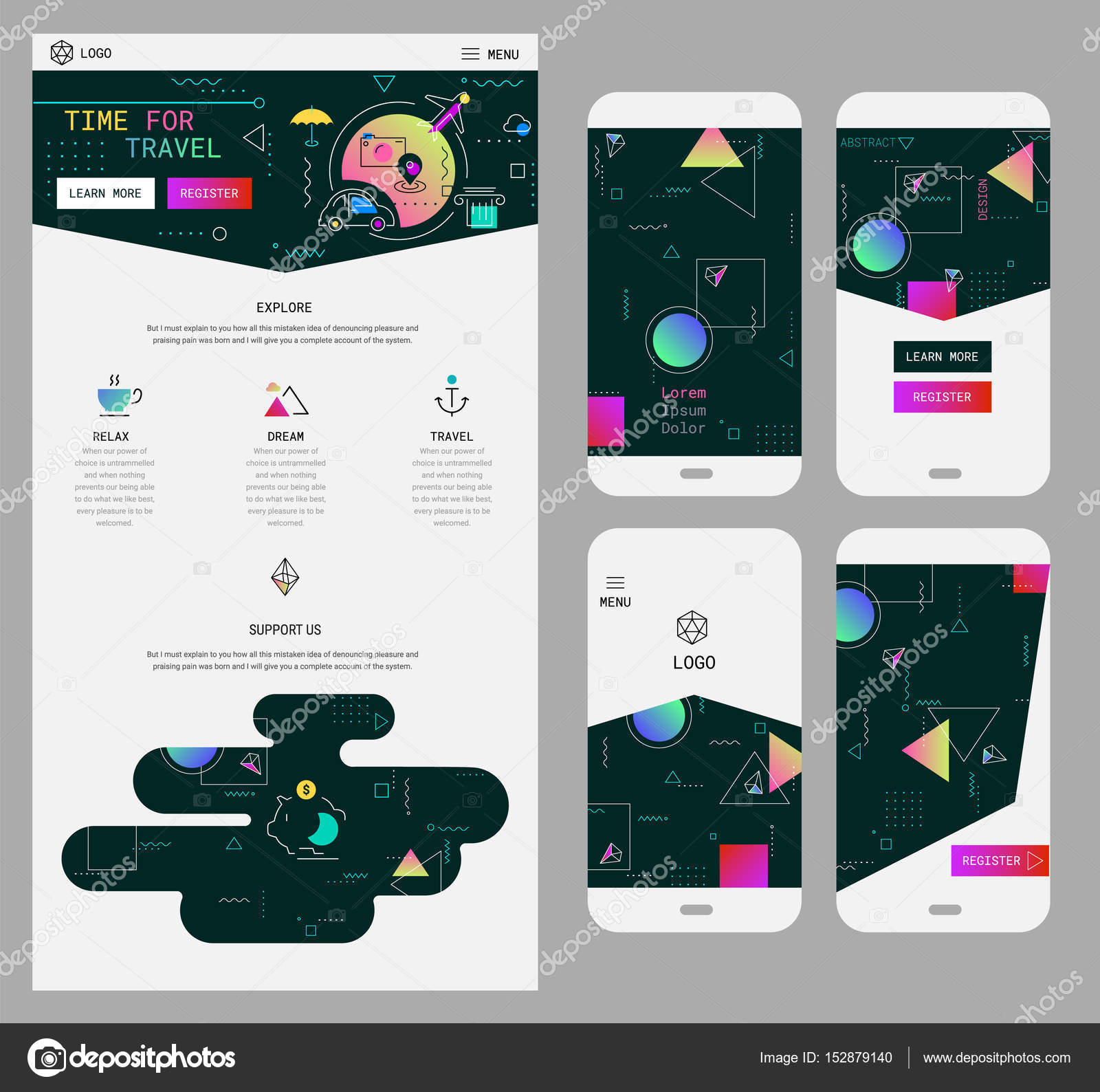 Abstract Geometric Ui Screens Mockup And One Page Website