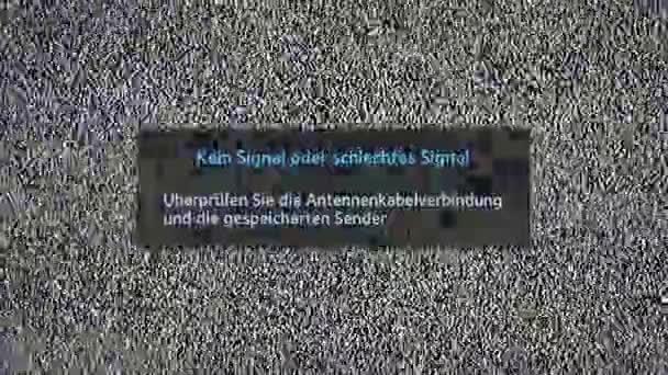 Gyenge vagy nincs jel felirat a televízió képernyőjén zaj