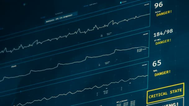 Futuristické JIP monitor, pacienti stav zhoršuje, náhlá smrt na obrazovce