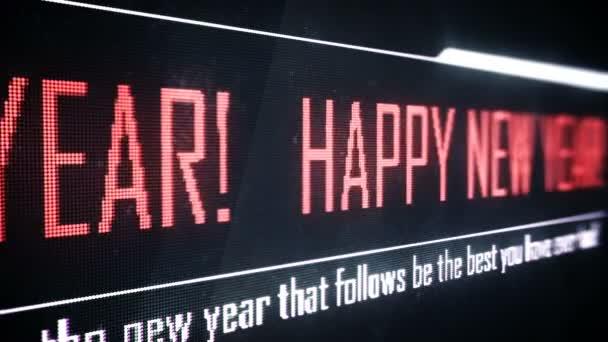 Šťastný nový rok text běží na obrazovce, pozdravy a přání, loopable pozadí
