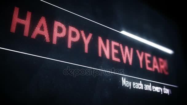 Šťastný nový rok text zprávy běží na obrazovce, pozdravy, pohlednice