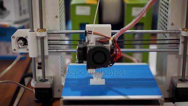 3D printer printing a figurine, additive manufacturing in progress, workshop